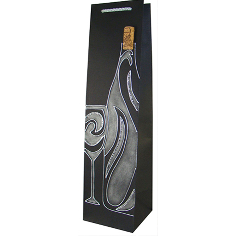 handmade painted black swirls wine bottle bag