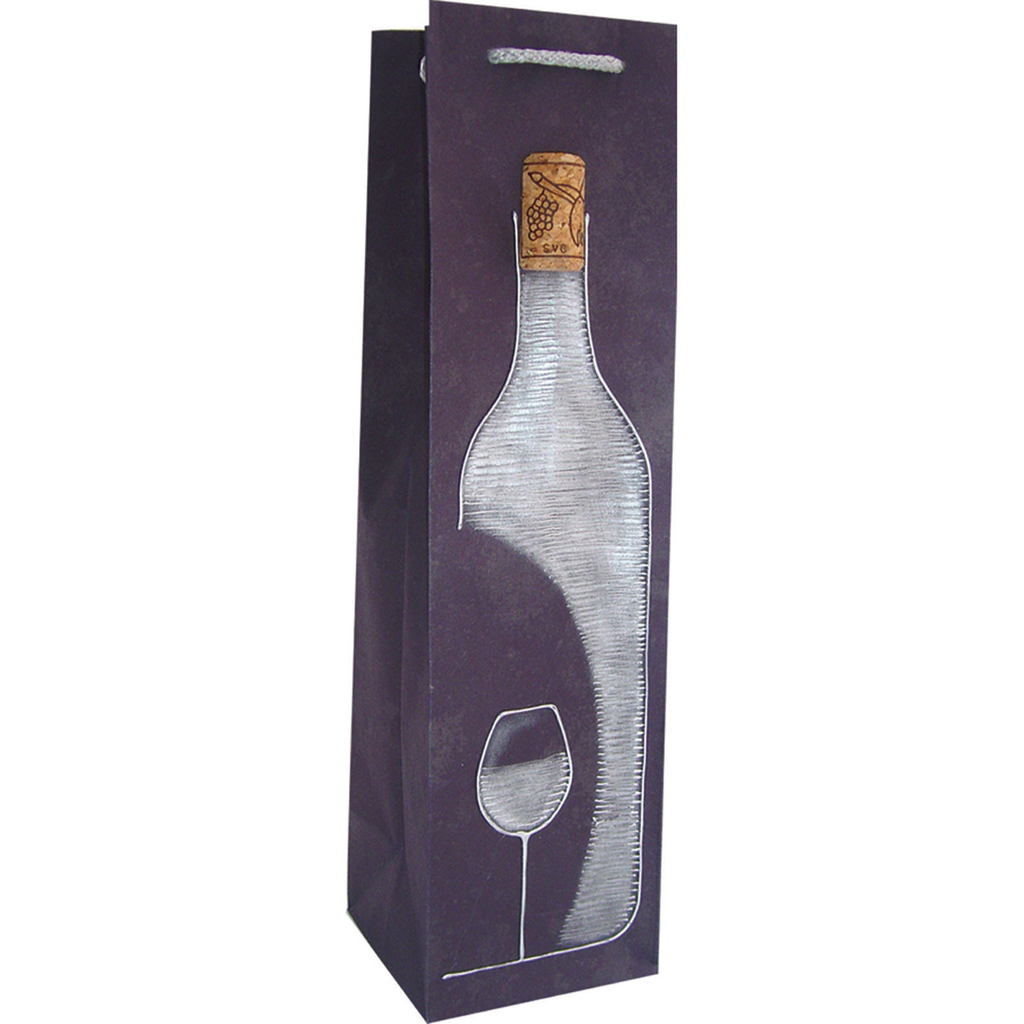 hand painted vnavy wine  cork wine bag
