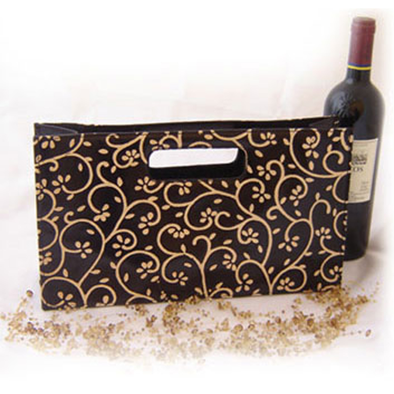 leather wine purse black vines wine bag
