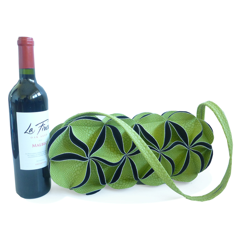 leather wine purse lime flower zipper wine bag
