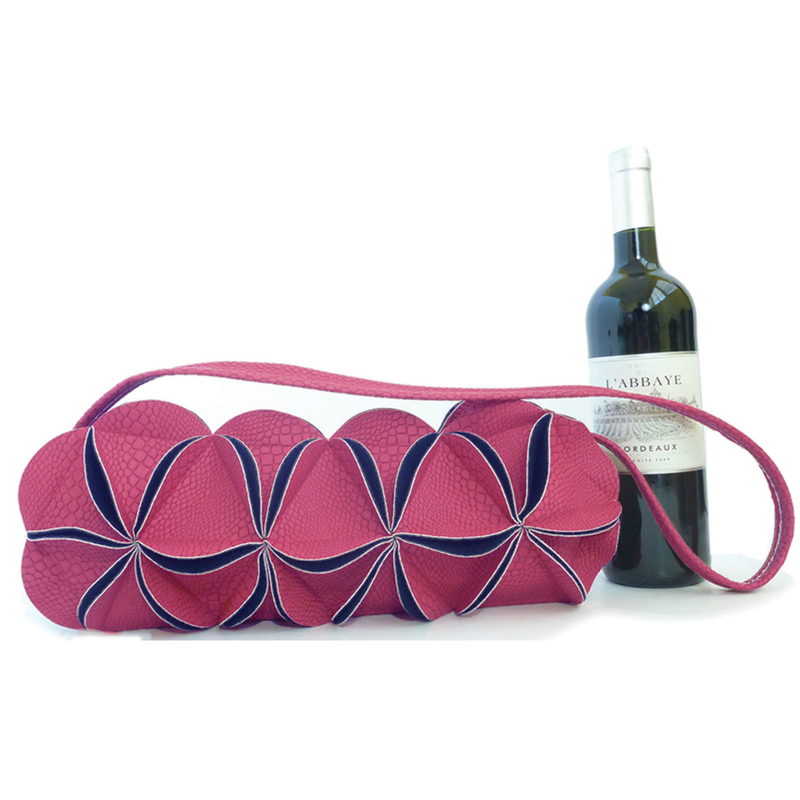 leather wine purse pink flower zipper wine bag