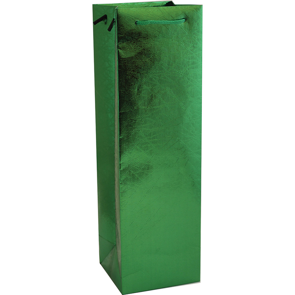 holographic grassy green foil finish wine gift bag