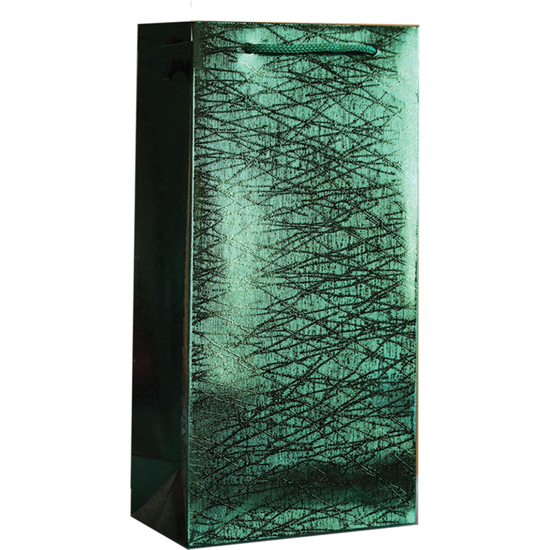 holographic grassy green foil finish double bottle wine gift bag