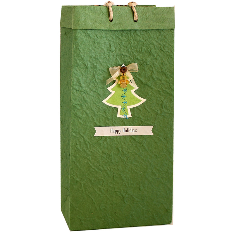 green christmas tree double bottle gourmet olive oil bag