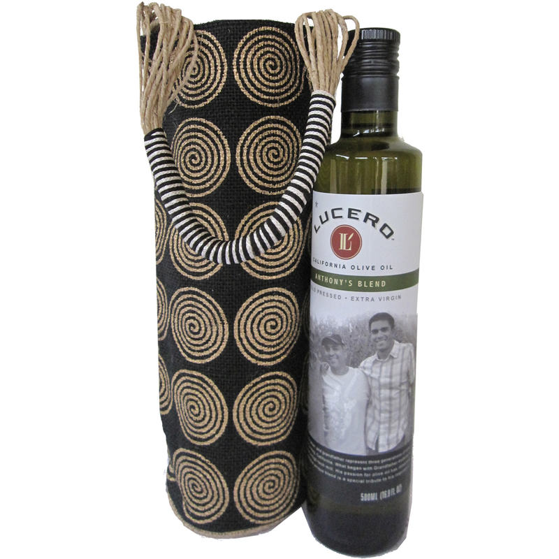 jute cylinder black swirls olive oil bottle bag