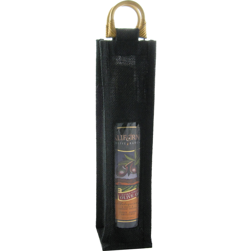 jute bamboo black window olive oil bottle bag