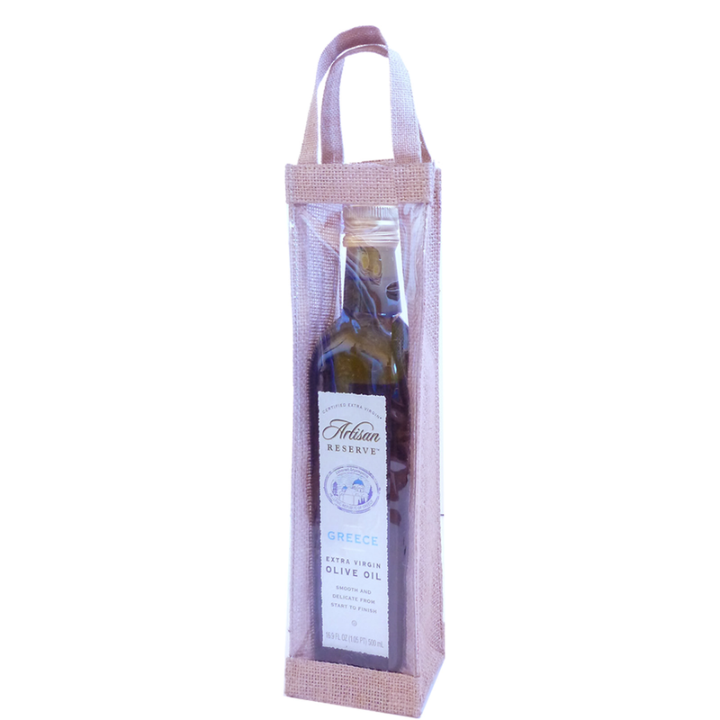 jute natural window olive oil bottle bag