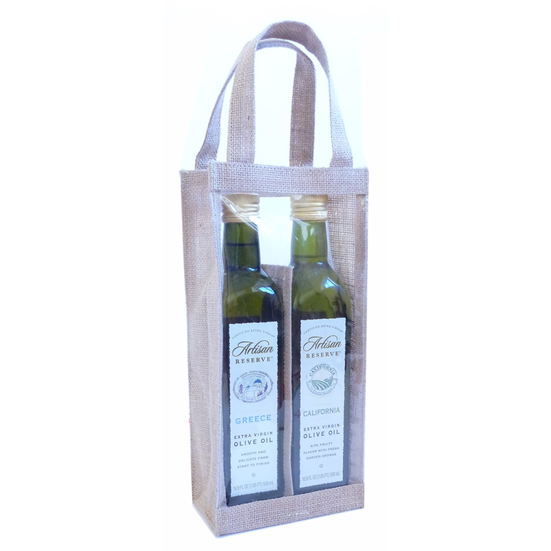 jute natural window olive oil double bottle bag