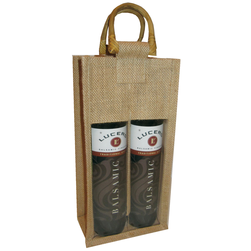 jute bamboo natural window olive oil double bottle bag