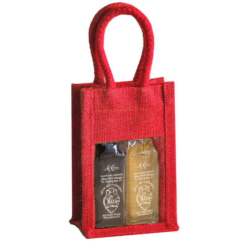jute sampler red double bottle bag