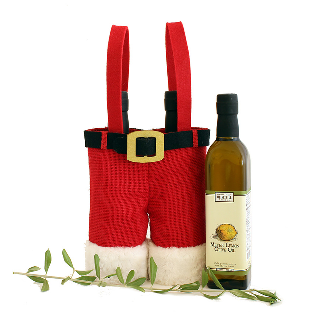 holiday santa pants double bottle olive oil carrier