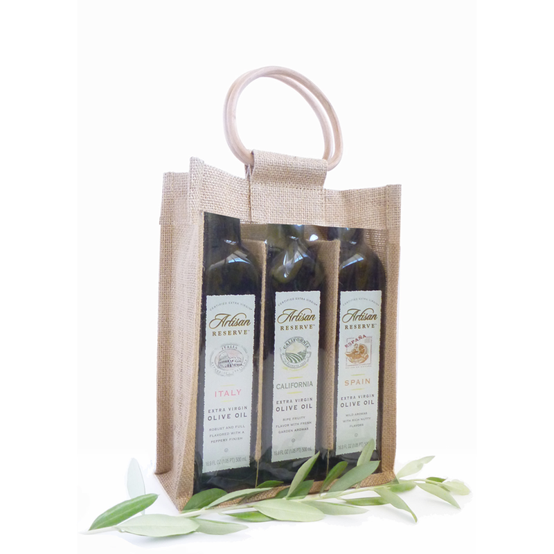 jute bamboo natural window olive oil triple bottle bag