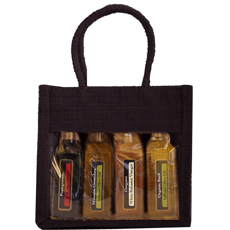 jute sampler black four bottle bag