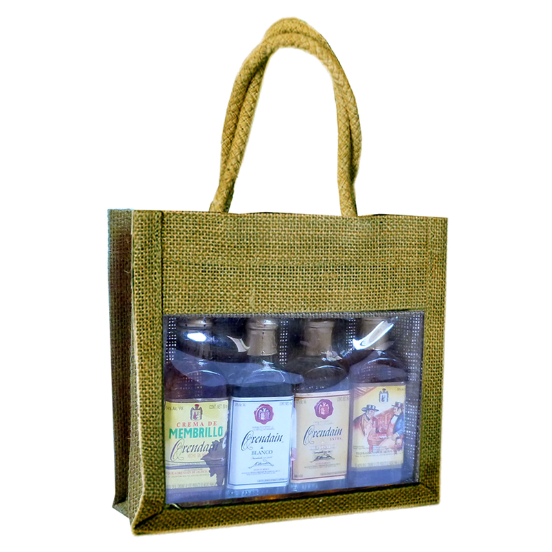 jute sampler olive four bottle bag