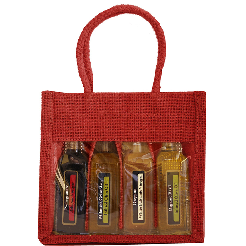jute sampler red four bottle bag