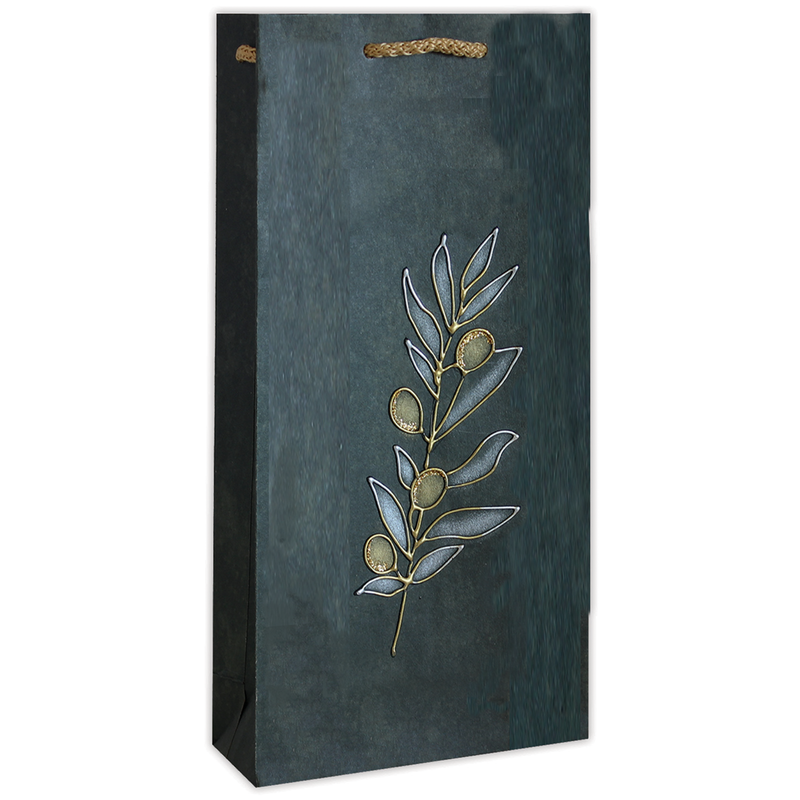 hand painted green vine olive oil double bottle bag