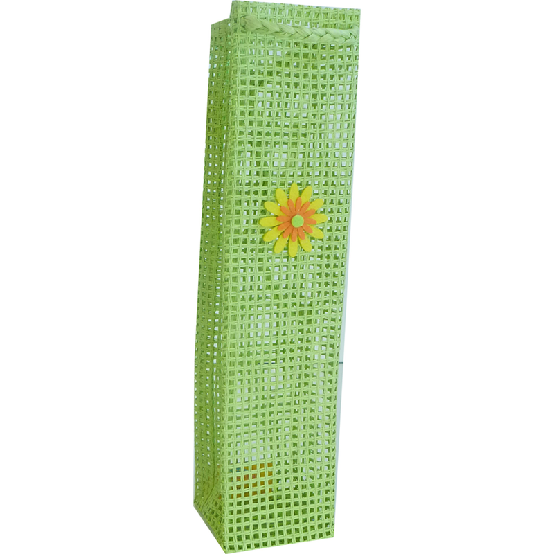 handmade woven paper flower bouquet olive oil bottle bag