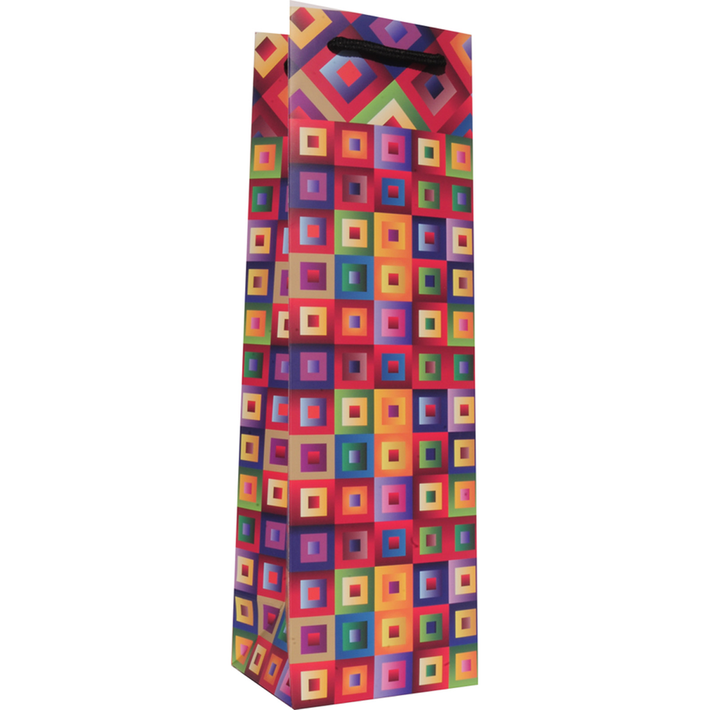 printed paper art deco blocks wine bag