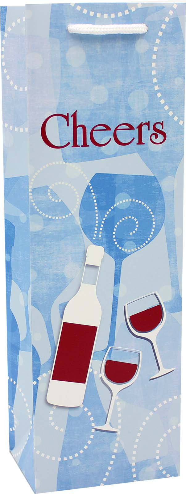 printed paper denim wine bag