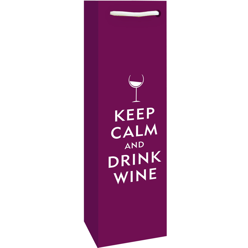 printed paper keep calm  drink wine bottle bag