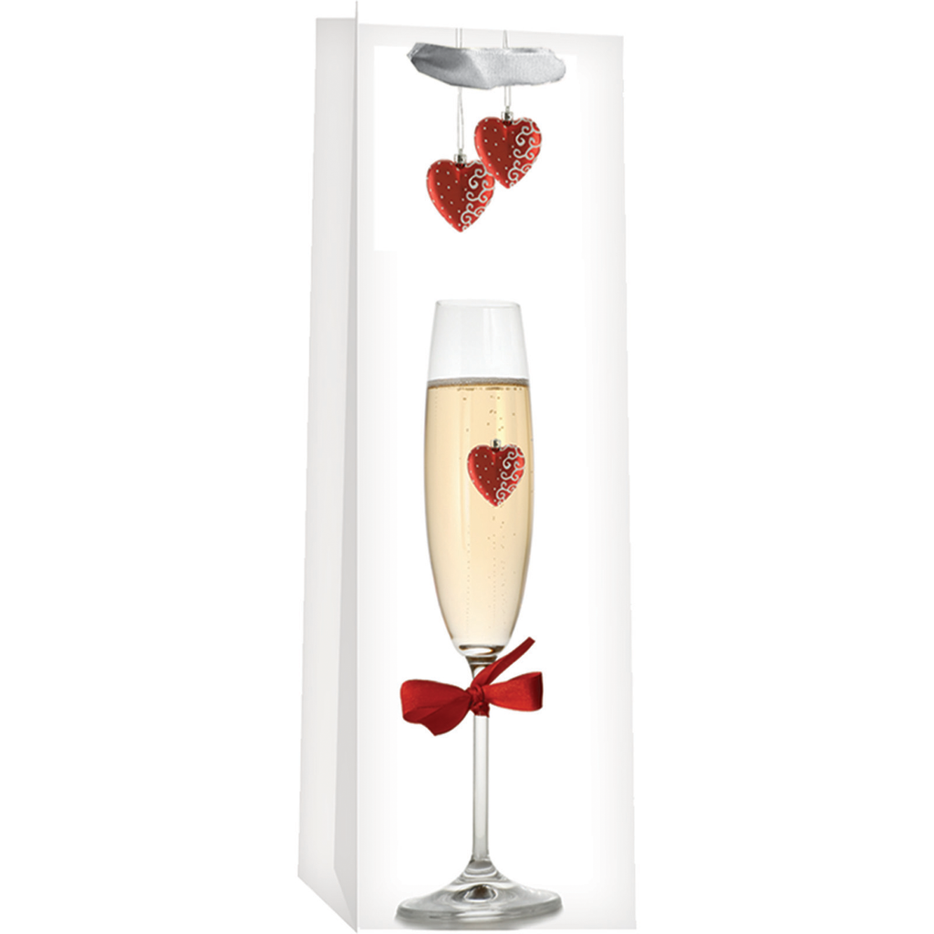 printed paper floating hearts wine bag