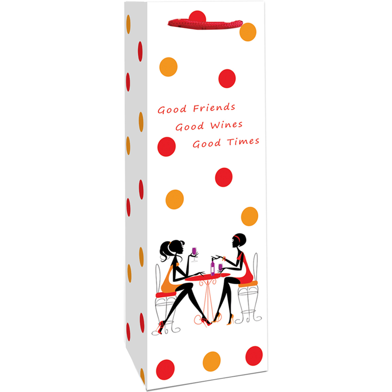 printed paper girl talk wine bag