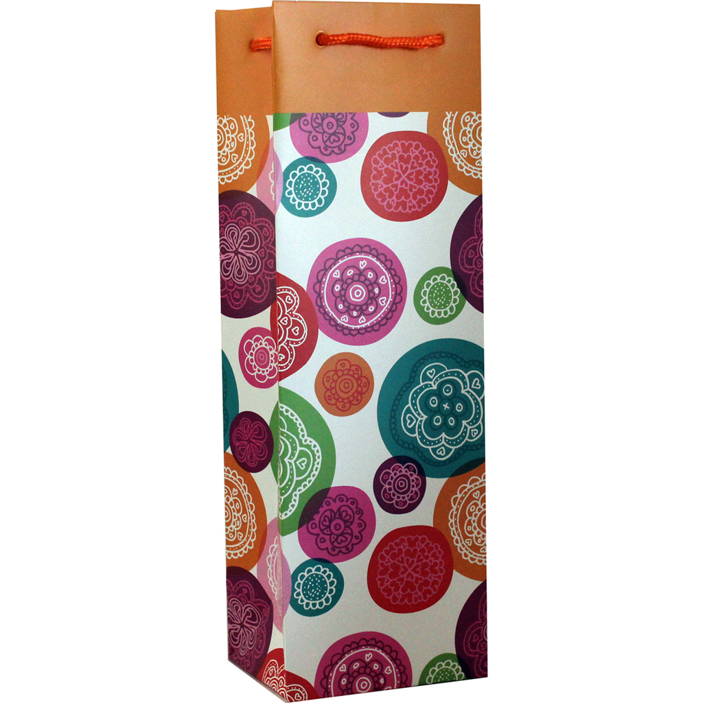 printed paper groovy wine bottle bag