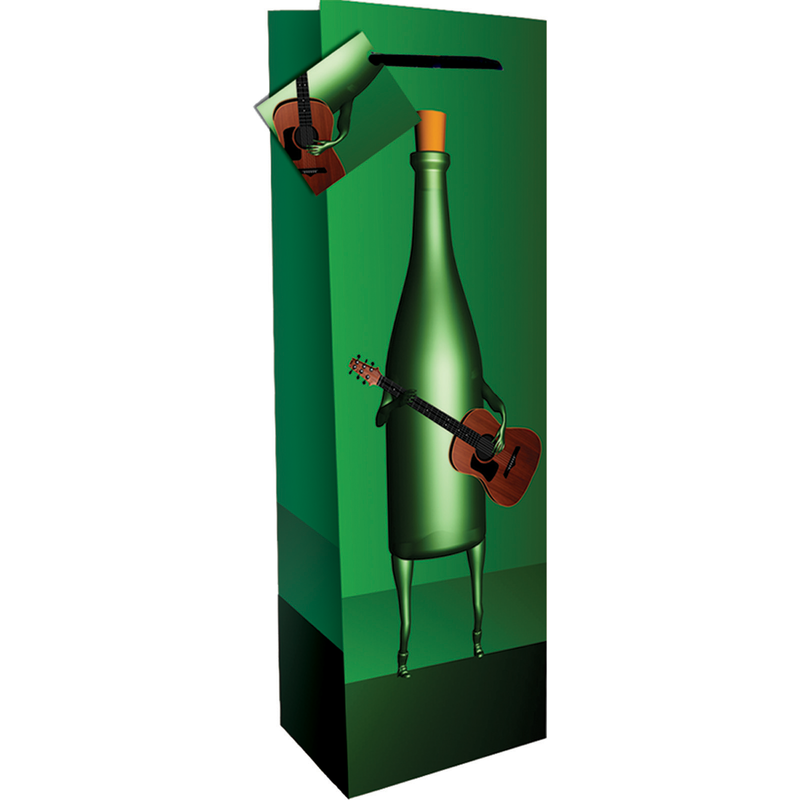 printed paper green guitar wine bag