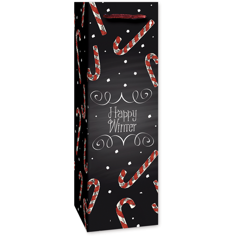 holiday printed paper happy winter wine bag
