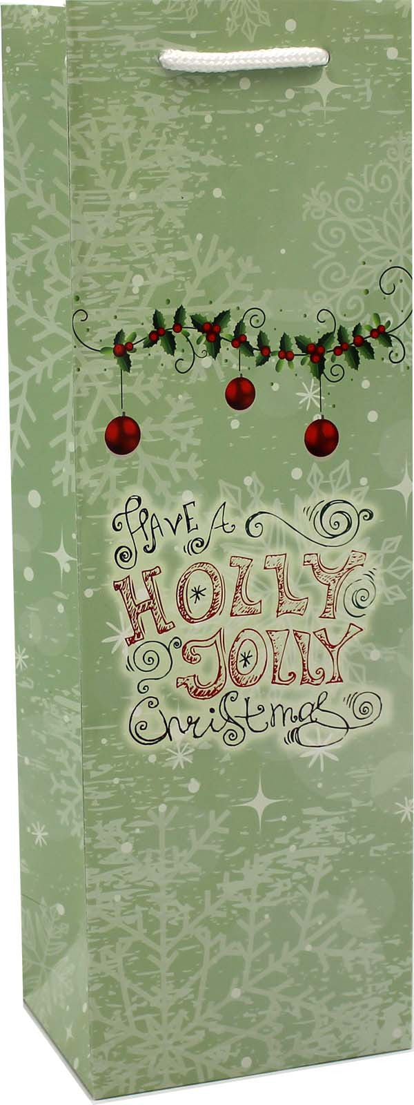 holiday printed paper jolly wine bag