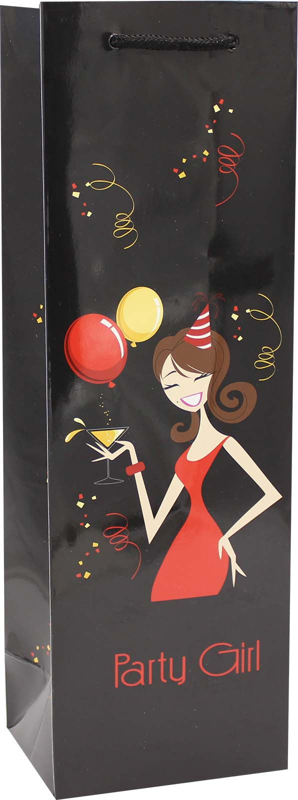 printed paper party girl wine bag