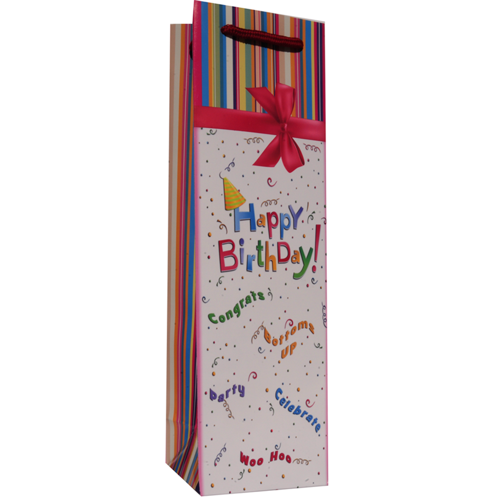 printed paper happy birthday party wine bag