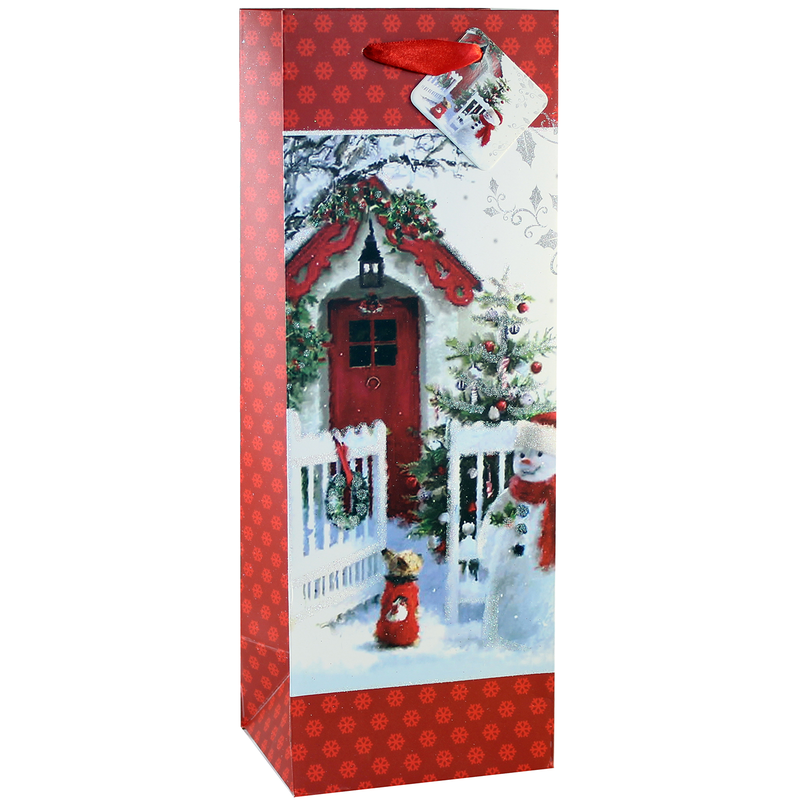 holiday printed paper red door wine bag