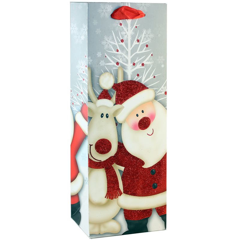 holiday printed paper santa wine bag