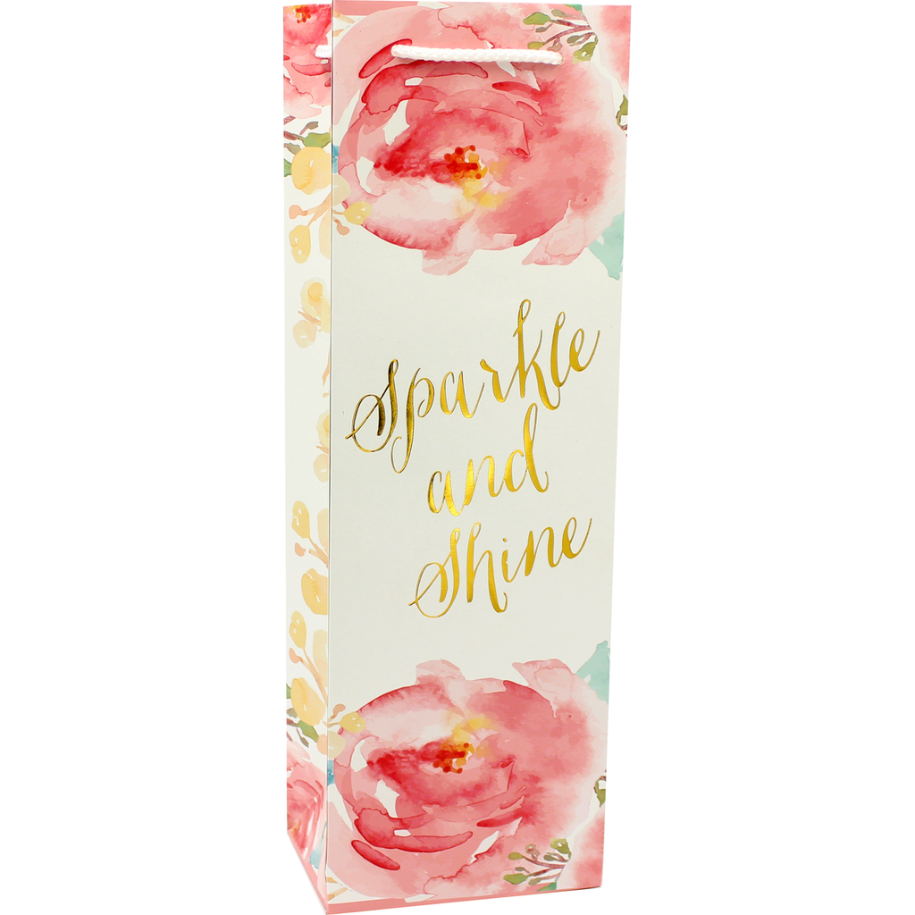 printed paper sparkle wine bag