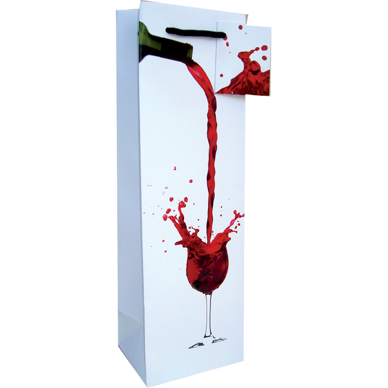 printed paper red wine splash wine bag