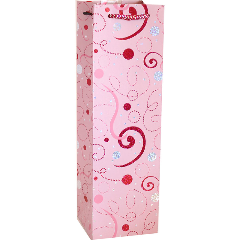 pink glitter swirl streamers wine bottle bag