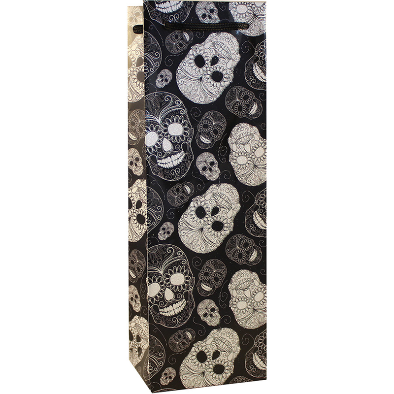 spooky glitter sugar skull skeleton wine bottle bag