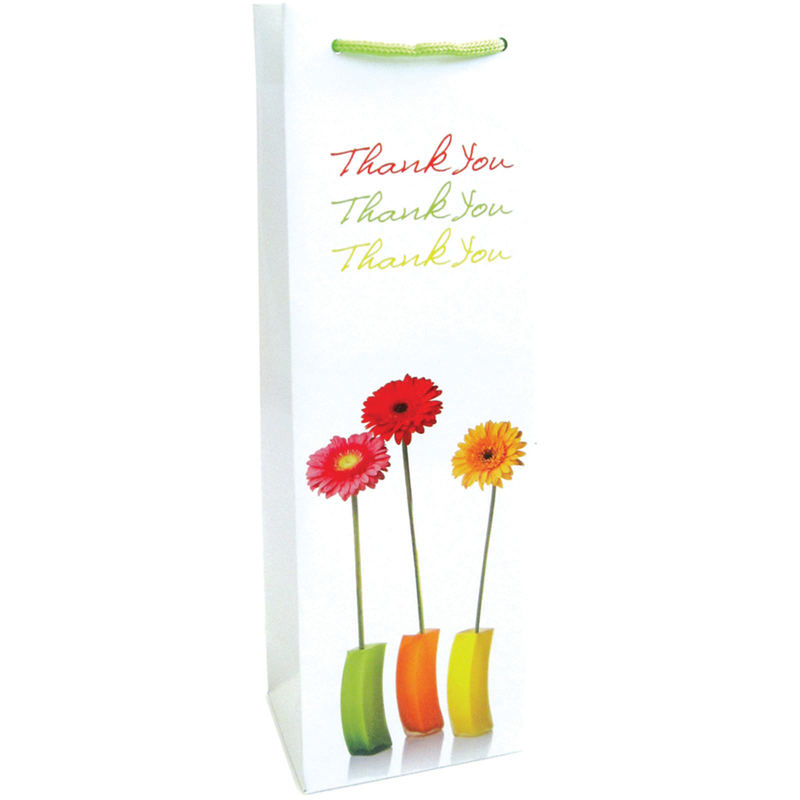 printed paper thank you flowers wine bag