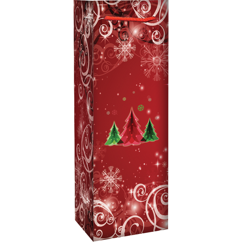 holiday printed paper winter tree swirls wine bag