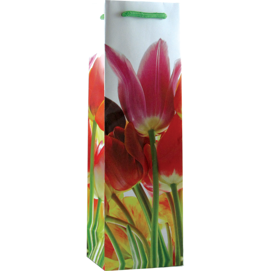 printed paper tulip flowers wine bag