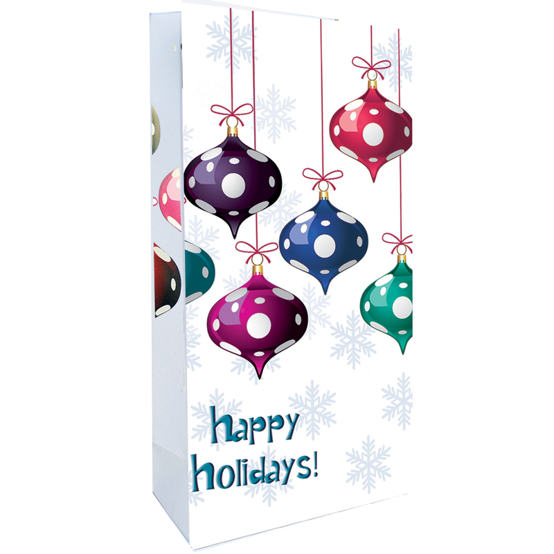 holiday printed paper baubles wine bag