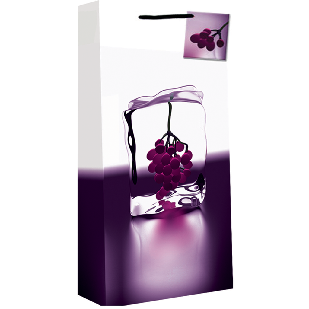 printed paper ice grape double bottle wine bag