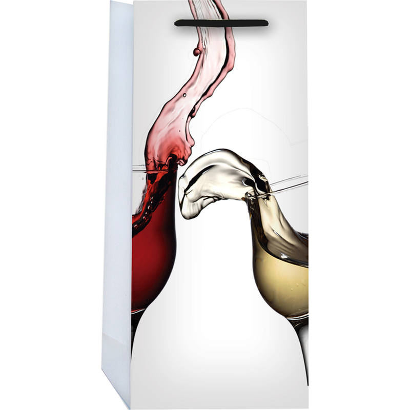 printed paper mixer double bottle wine bag