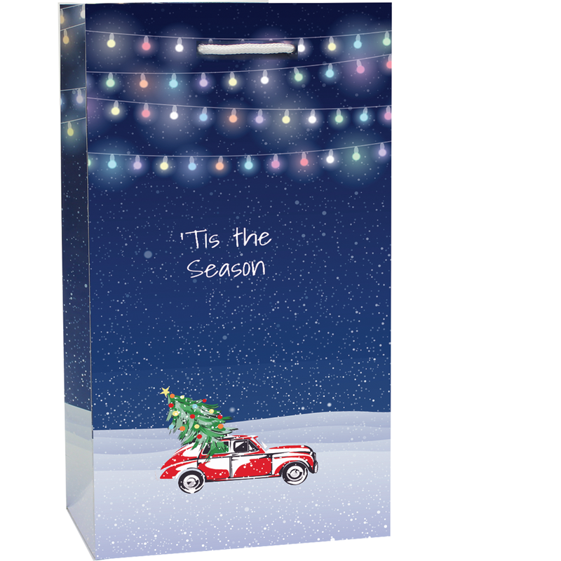 holiday printed paper night sky wine bag