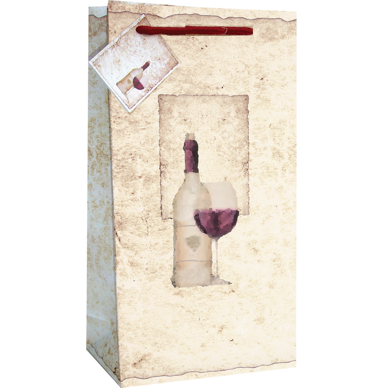 printed paper old world double bottle wine bag
