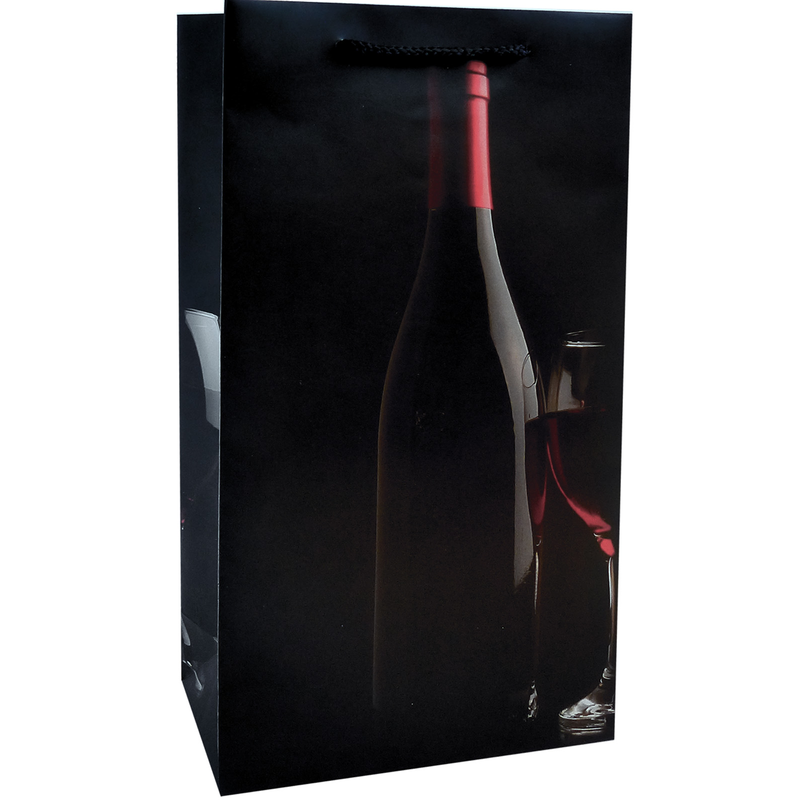 printed paper red wine sihouette double bottle wine bag