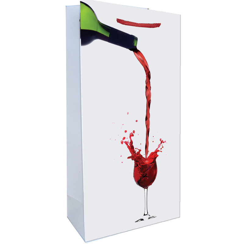 printed paper red wine splash double bottle wine bag