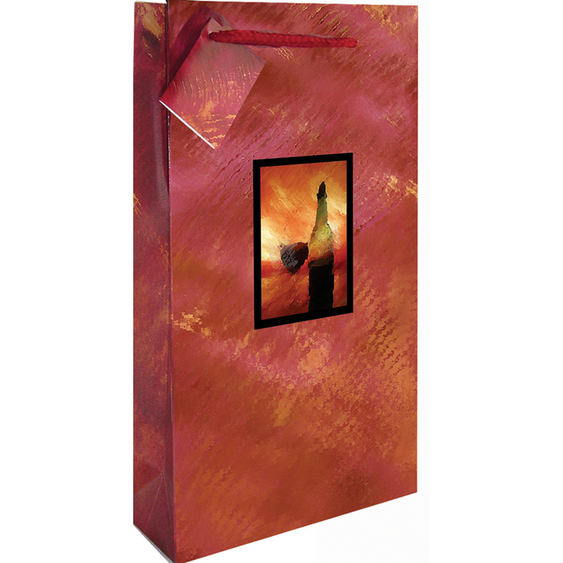 printed paper vangogh art double bottle wine bag