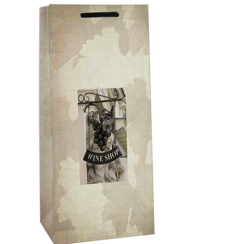 printed paper wine shop double bottle wine bag